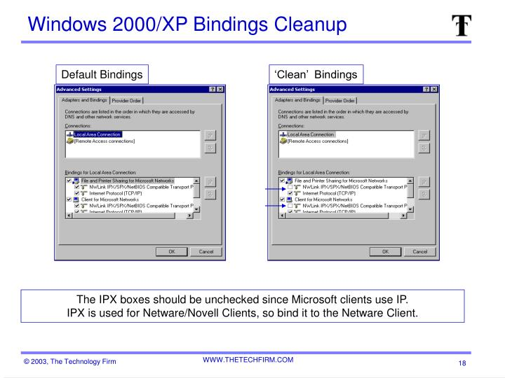 Windows 2000/XP Bindings Cleanup