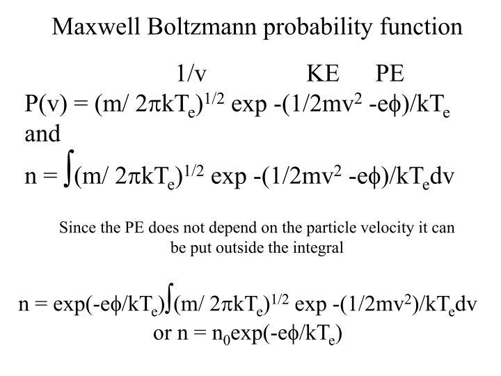 Maxwell Boltzmann probability function