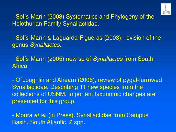 Solís-Marín (2003) Systematics and Phylogeny of the Holothurian Family Synallactidae.