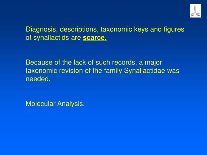 Diagnosis, descriptions, taxonomic keys and figures of synallactids are