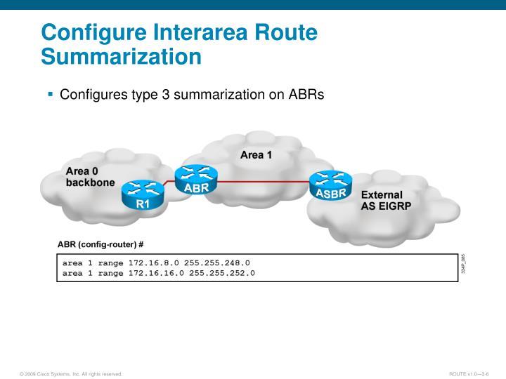Configure Interarea Route Summarization
