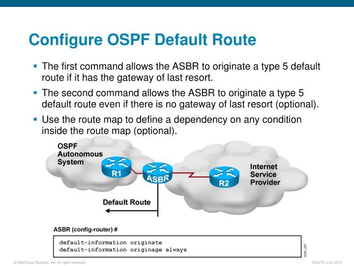 Configure OSPF Default Route