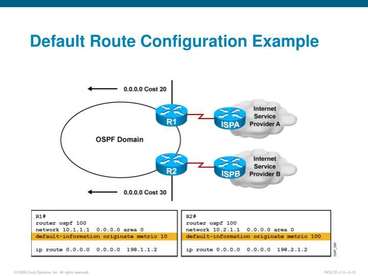 Default Route Configuration Example