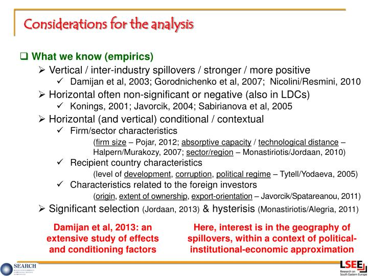 Considerations for the analysis