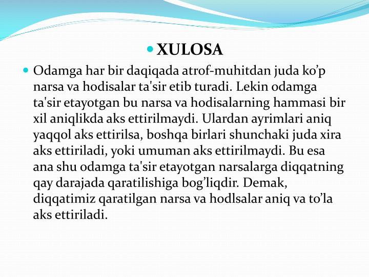 XULOSA