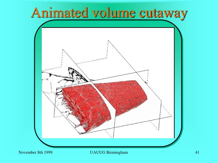 Animated volume cutaway