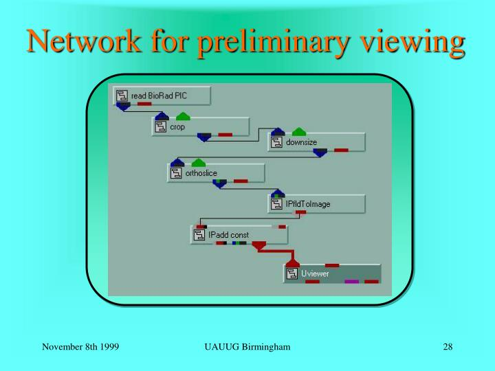 Network for preliminary viewing