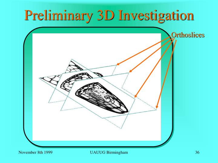 Preliminary 3D Investigation