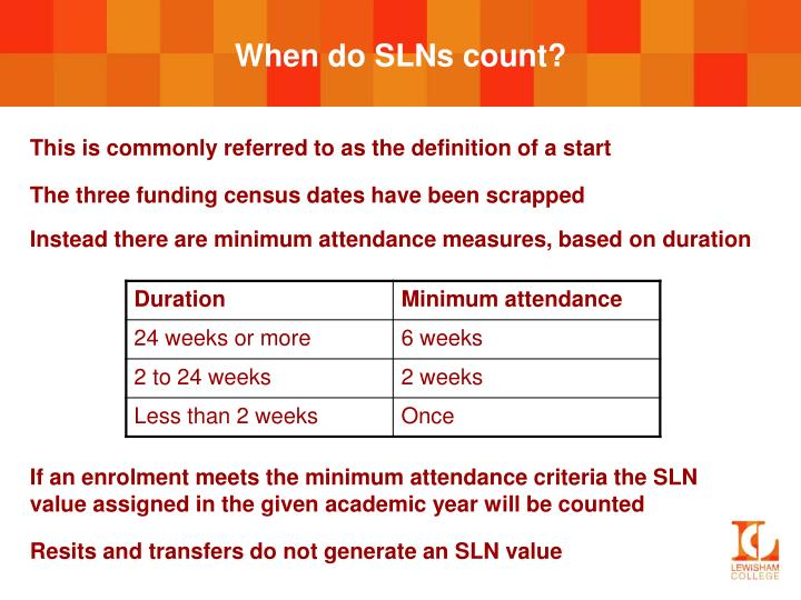 When do SLNs count?