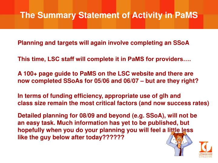 The Summary Statement of Activity in PaMS