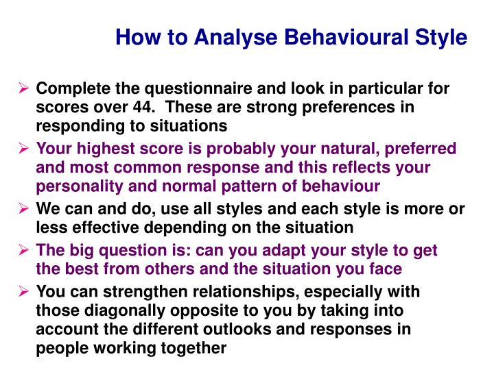 How to analyse behavioural style