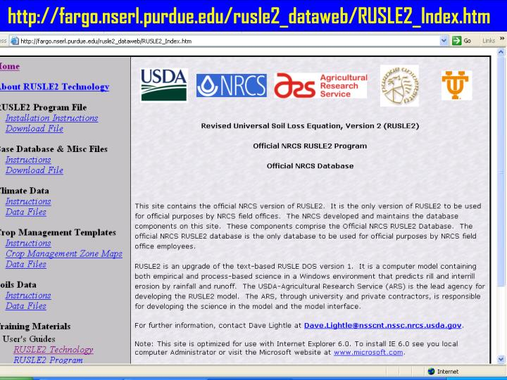 http://fargo.nserl.purdue.edu/rusle2_dataweb/RUSLE2_Index.htm