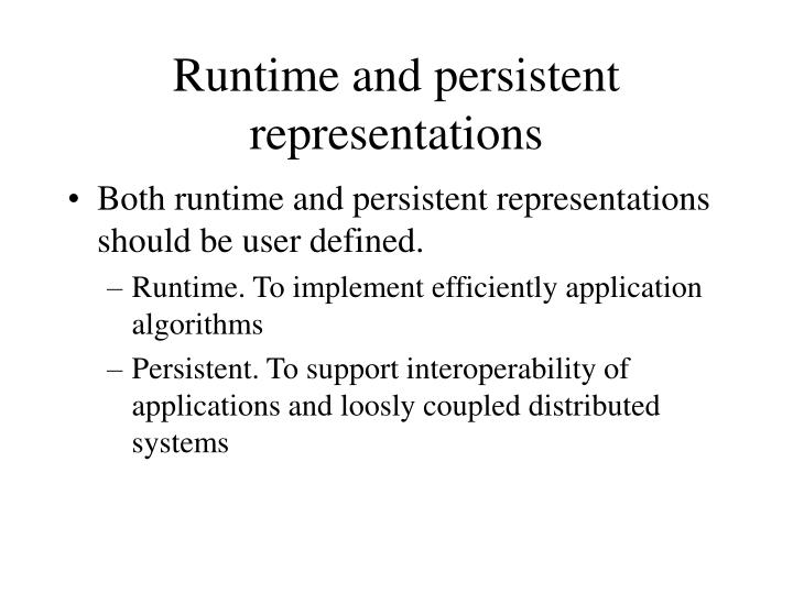 Runtime and persistent representations