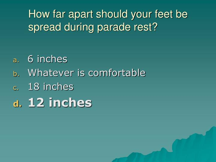 How far apart should your feet be spread during parade rest?