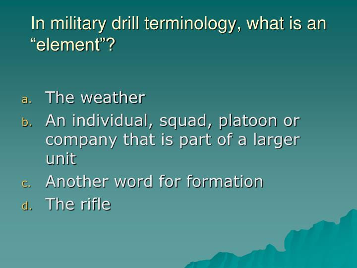 "In military drill terminology, what is an ""element""?"
