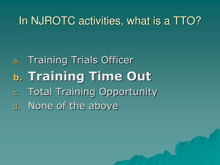 In NJROTC activities, what is a TTO?