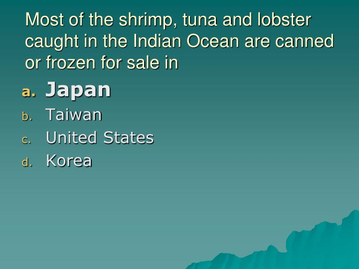 Most of the shrimp, tuna and lobster caught in the Indian Ocean are canned or frozen for sale in