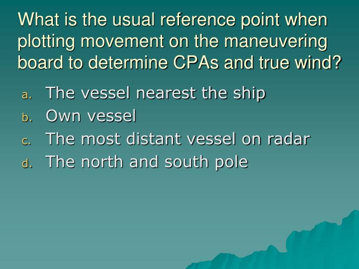 What is the usual reference point when plotting movement on the maneuvering board to determine CPAs and true wind?