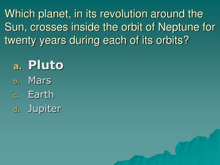 Which planet, in its revolution around the Sun, crosses inside the orbit of Neptune for twenty years during each of its orbits?