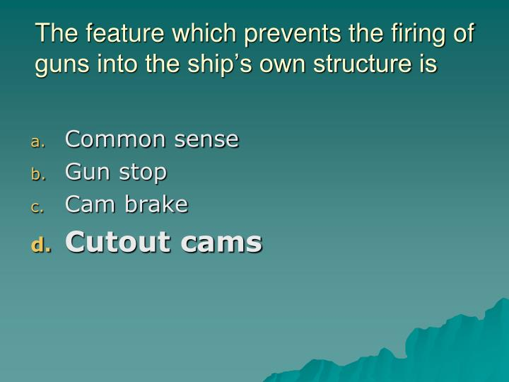 The feature which prevents the firing of guns into the ship's own structure is