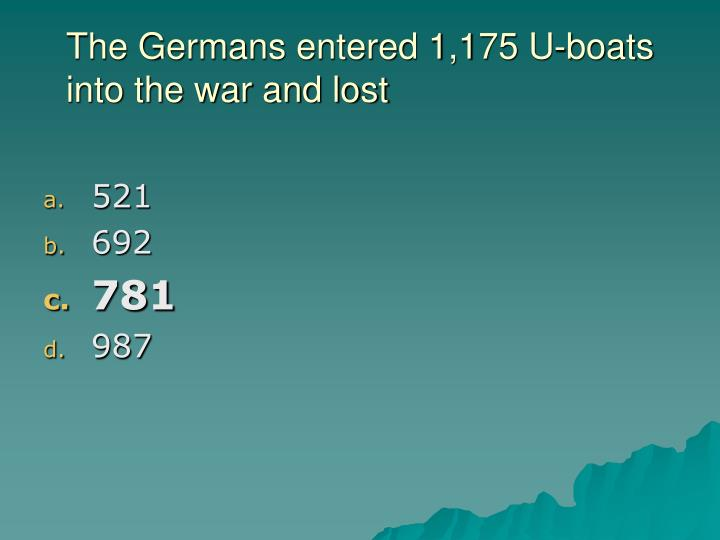 The Germans entered 1,175 U-boats into the war and lost