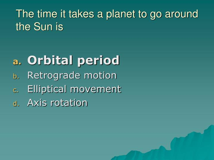 The time it takes a planet to go around the Sun is