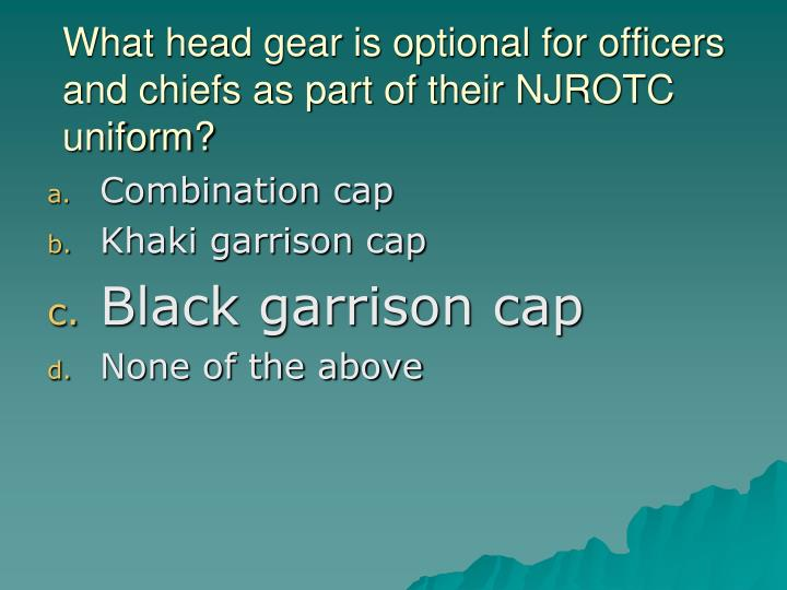 What head gear is optional for officers and chiefs as part of their NJROTC uniform?