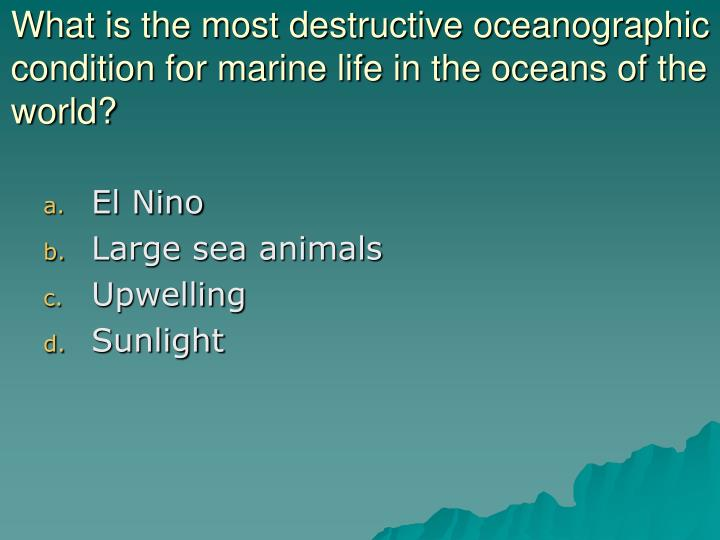 What is the most destructive oceanographic condition for marine life in the oceans of the world?