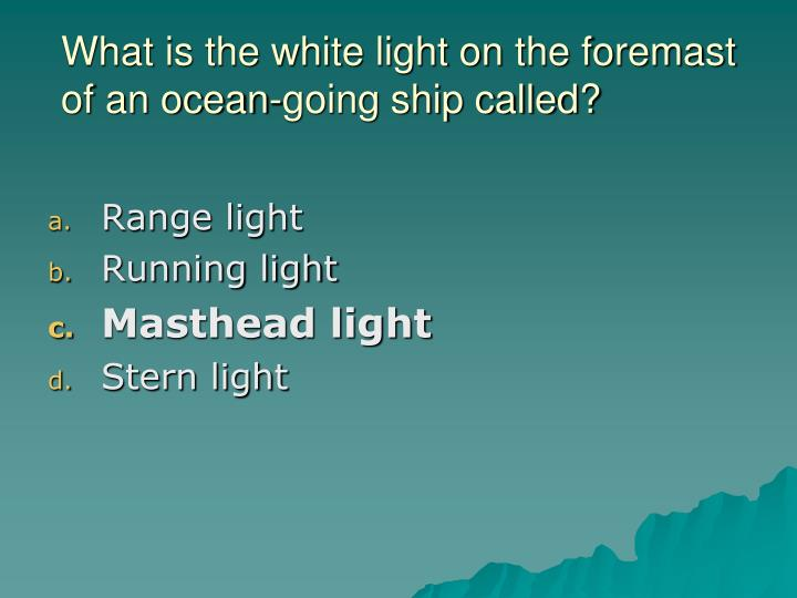 What is the white light on the foremast of an ocean-going ship called?