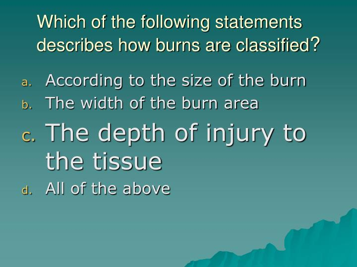Which of the following statements describes how burns are classified