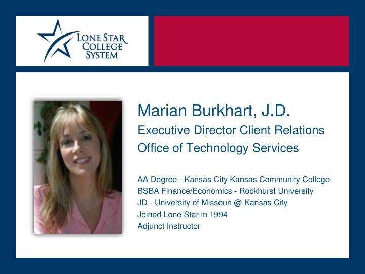 Marian Burkhart, J.D.