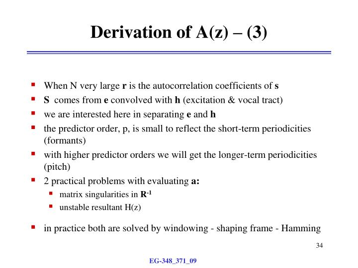 Derivation of A(z) – (3)