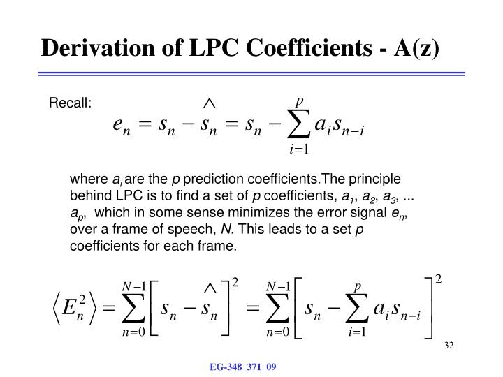 Derivation of LPC Coefficients - A(z)