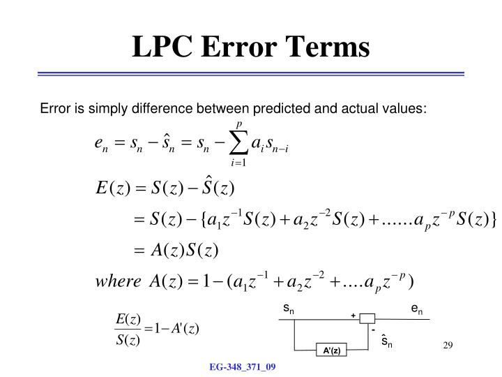 LPC Error Terms
