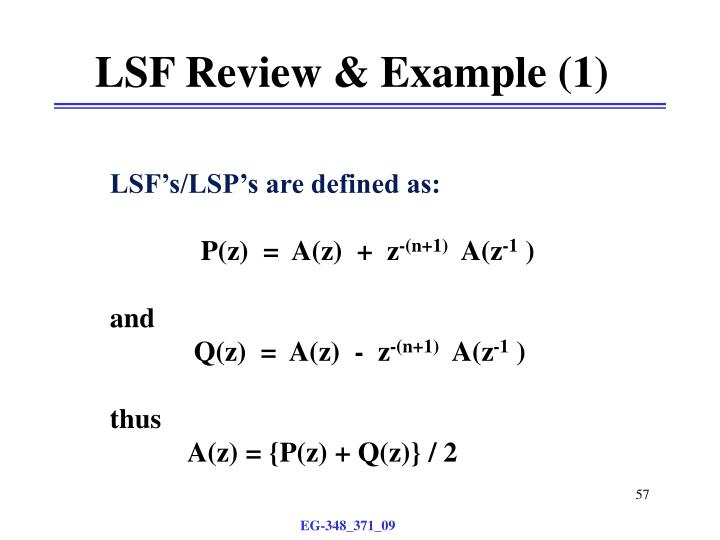 LSF Review & Example (1)