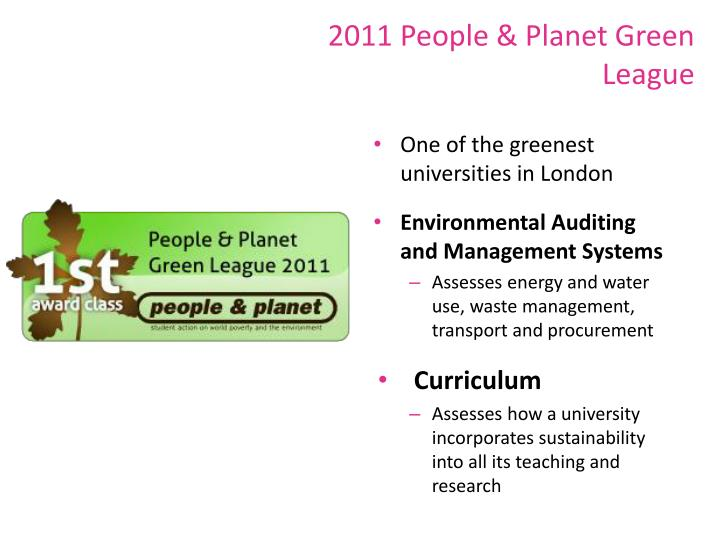 2011 People & Planet Green League