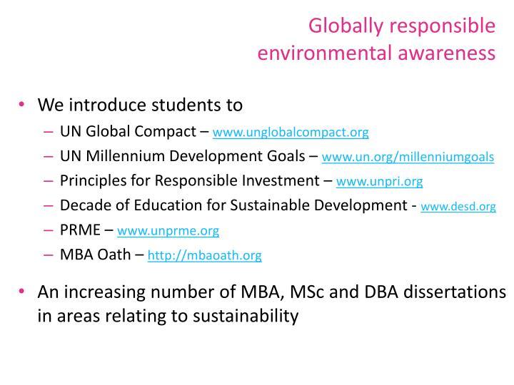 Globally responsible environmental awareness