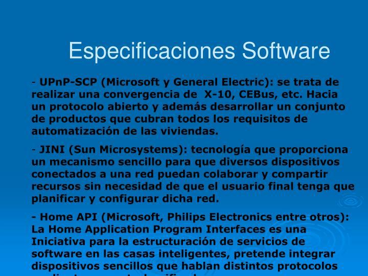Especificaciones Software