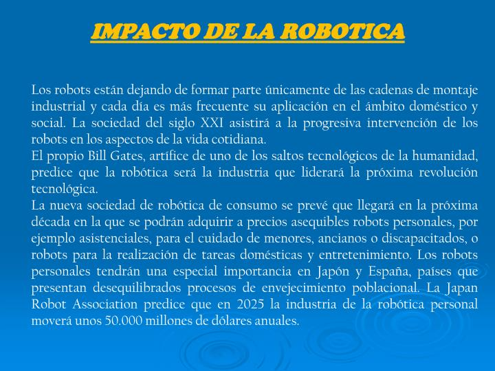 IMPACTO DE LA ROBOTICA
