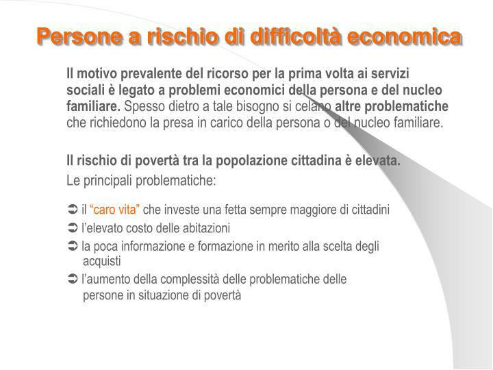 Persone a rischio di difficoltà economica