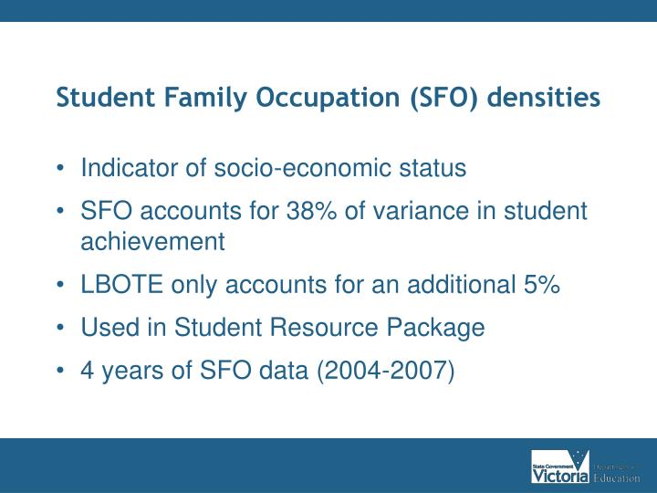Student Family Occupation (SFO) densities