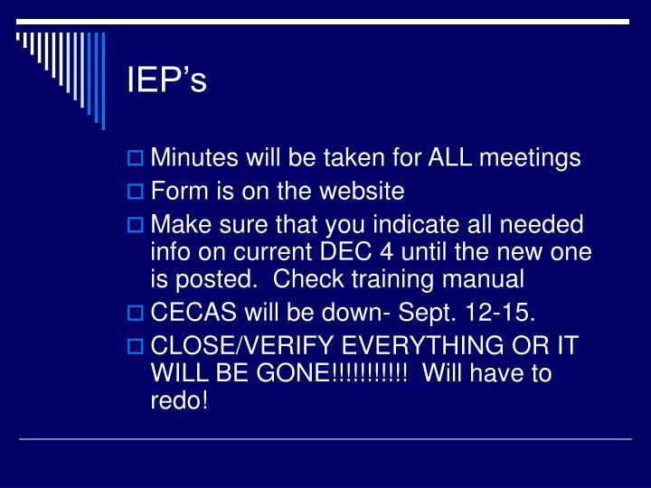 IEP's