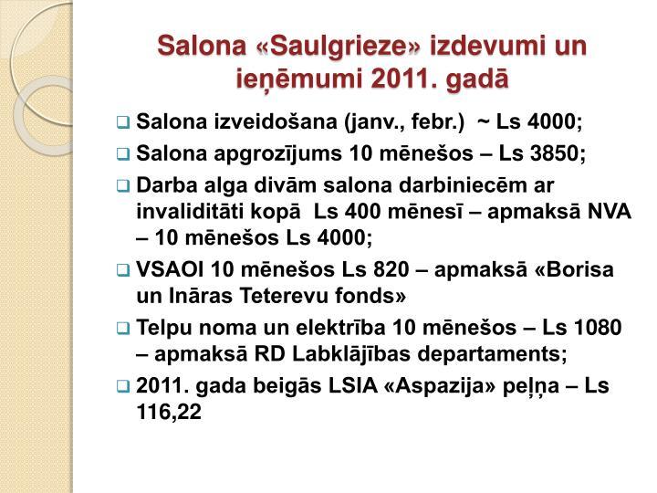 Salona «Saulgrieze» izdevumi un ieņēmumi 2011. gadā