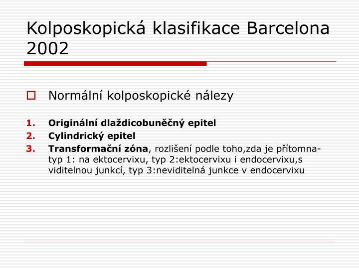 Kolposkopická klasifikace Barcelona 2002