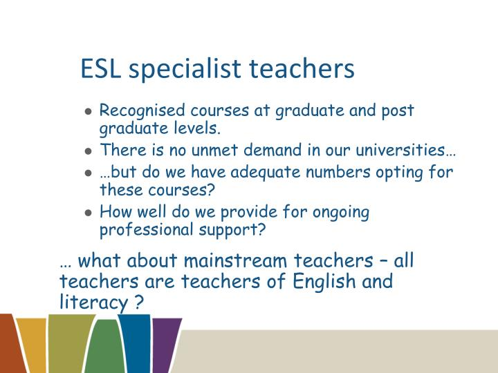 ESL specialist teachers
