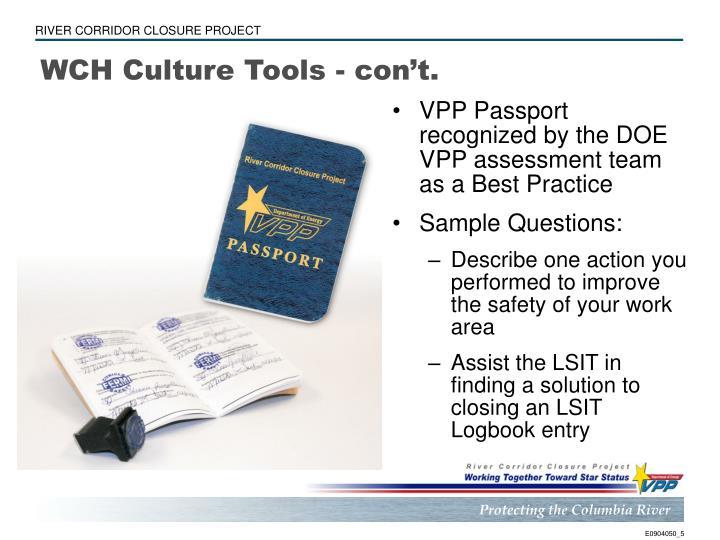 WCH Culture Tools - con't.
