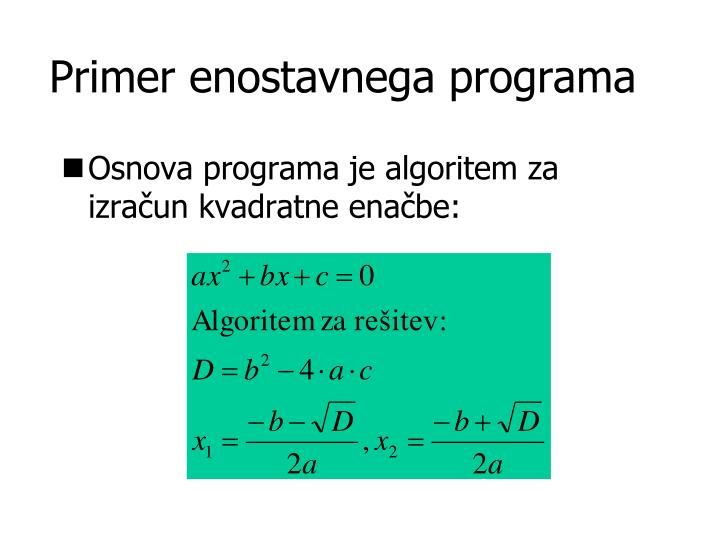 Primer enostavnega programa