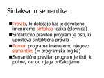 sintaksa in semantika