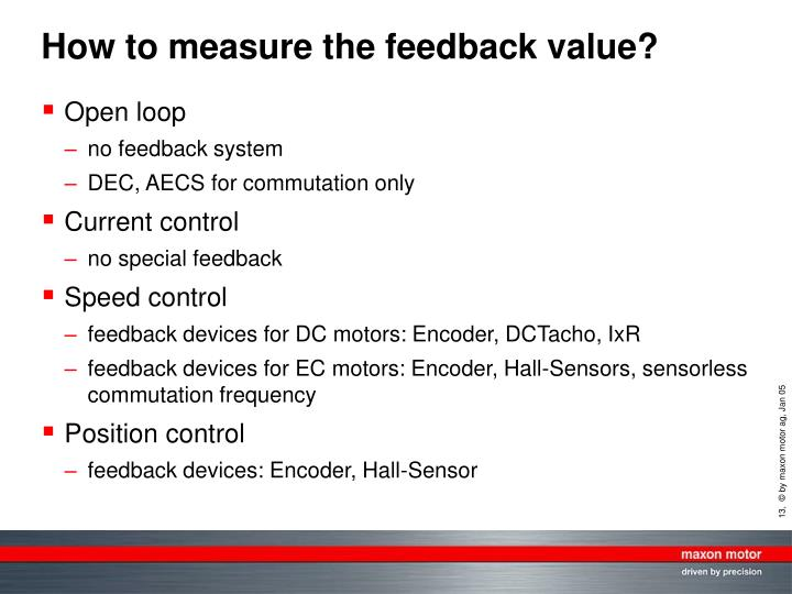 How to measure the feedback value?
