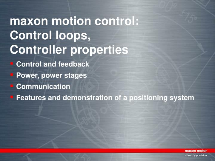 Maxon motion control control loops controller properties